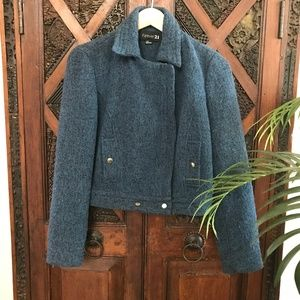 Forever 21 Wool & Tweed Moto Jacket  Size L